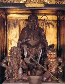 Secret Statue of En-no-Gyoja inside monastery on top of Mt.Sanjo