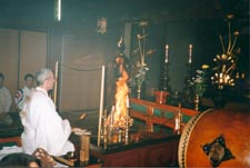 Sylvain performing fire ceremony inside Shogoin Temple for the French National Kendo Team