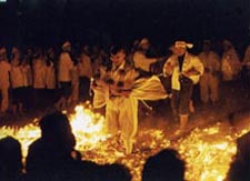 Sylvain performing the fire walk during a ceremony for the fire god Akibasan of Nagoya city